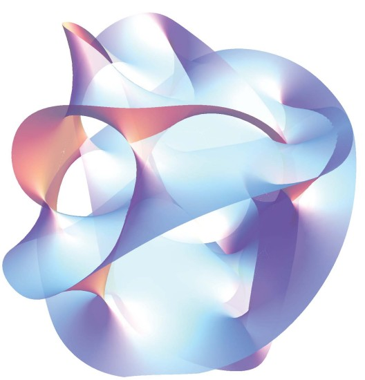 3-D projection of a multi-dimensional Calabi-Yao manifold - click for larger version