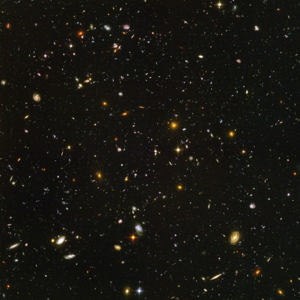 The cosmological principle is supported by pictures of different parts of the universe by the Hubble Space Telescope - click for larger version