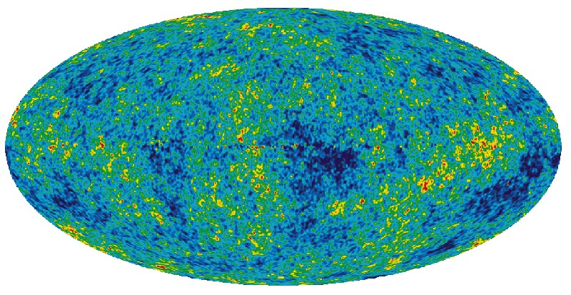 WMAP colour-enhanced picture of cosmic microwave background radiation - click for larger version