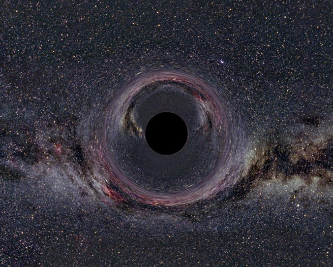 Simulated black hole in front of the Milky Way - click for larger version