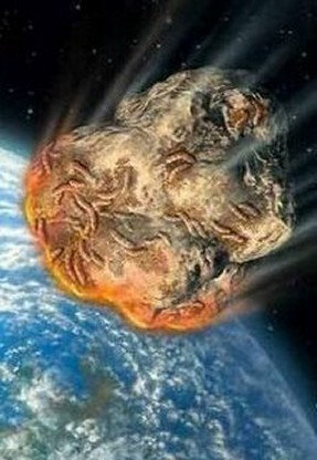 Artist's depiction of life falling to Earth on a meteorite, according to the panspermia hypothesis - click for larger version