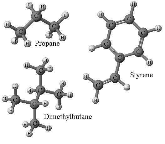 Examples of organic molecules - click for larger version