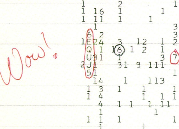 SETI's unexplained 'Wow!' signal, recorded in 1977 - click for larger version