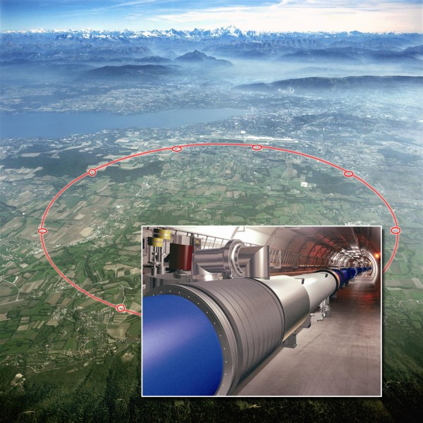 The Large Hadron Collider at CERN, Switzerland, uses extremely high energy to create particles of mass - click for larger version